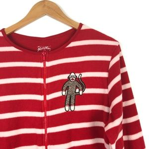 Nick & Nora Stripe Sock Monkey Fleece One Piece PJ